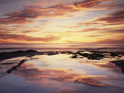 California, San Diego, Sunset Cliffs, Sunset Reflecting in a Tide Pool-Christopher Talbot Frank-Photographic Print