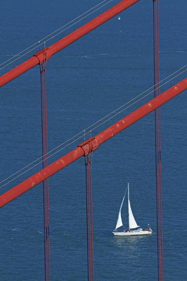 California, San Francisco, Golden Gate Bridge and Yacht-David Wall-Photographic Print