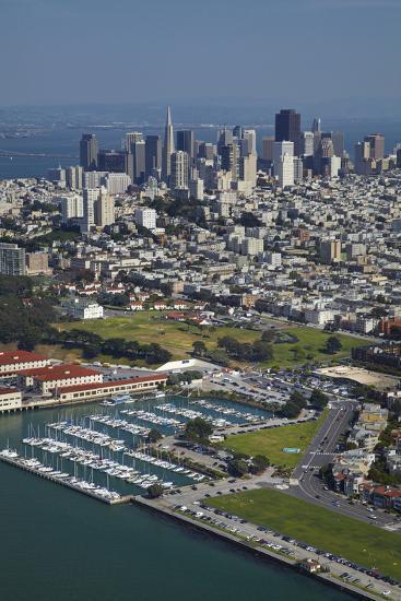 California, San Francisco, Marina and Downtown San Francisco, Aerial-David Wall-Photographic Print