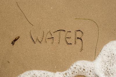 California, Santa Barbara Co, Jalama Beach, Water Written in Sand-Alison Jones-Photographic Print