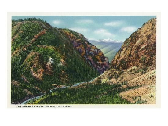 California - Scenic View in the American River Canyon, c.1937-Lantern Press-Art Print