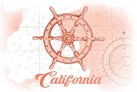 California - Ship Wheel - Coral - Coastal Icon-Lantern Press-Art Print