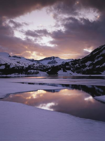 California, Sierra Nevada, Inyo Nf, Frozen Ellery Lake at Sunset-Christopher Talbot Frank-Photographic Print