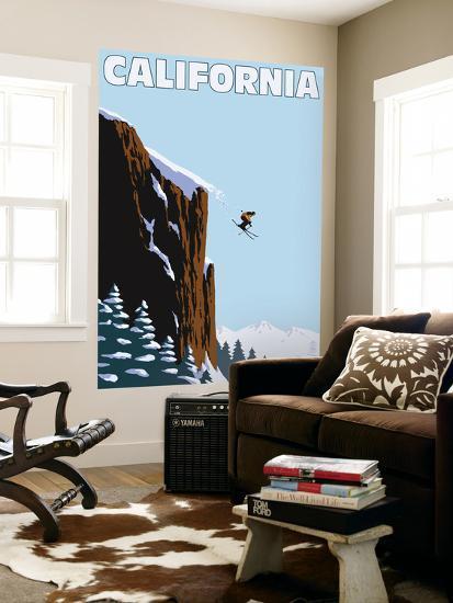 California - Skier Jumping-Lantern Press-Wall Mural