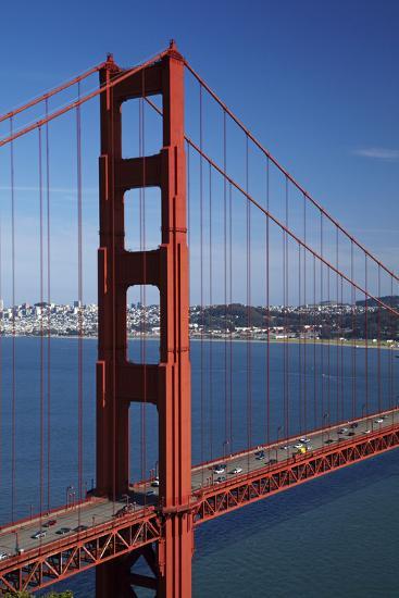 California, Traffic on Golden Gate Bridge, and San Francisco Bay-David Wall-Photographic Print