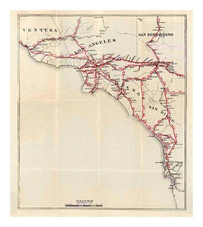 California: Ventura, Los Angeles, San Bernardino, Orange, and San Diego Counties, c.1896-George W^ Blum-Art Print