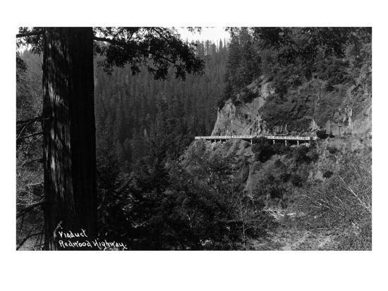 California - Viaduct along the Redwood Highway-Lantern Press-Art Print