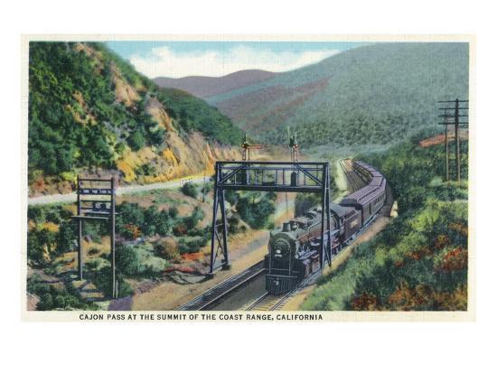 California - View of a Train in Cajon Pass-Lantern Press-Art Print