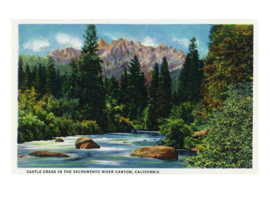 California - View of Castle Crags in the Sacramento River Canyon, c.1936-Lantern Press-Art Print