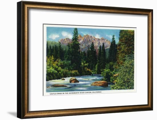 California - View of Castle Crags in the Sacramento River Canyon, c.1936-Lantern Press-Framed Art Print
