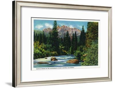 California - View of Castle Crags in the Sacramento River Canyon, c.1936-Lantern Press-Framed Art Print