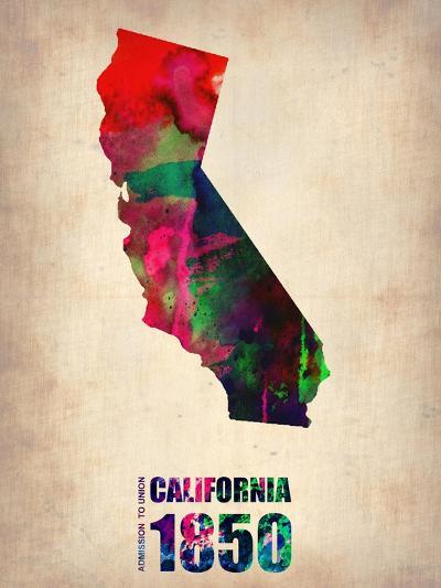 California Watercolor Map-NaxArt-Art Print