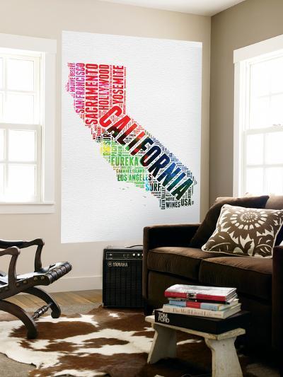 California Watercolor Word Cloud-NaxArt-Wall Mural