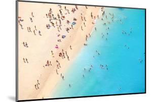 Tourists on the Sand Beach of Navagio Zakynthos Greece. by Calin Stan