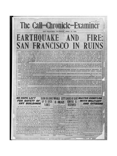 Call-Chronicle-Examiner Reporting San Francisco Earthquake--Giclee Print