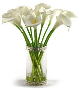 Calla Lilies in Lace Rimmed Vase