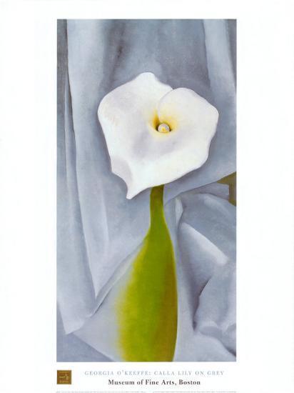 Calla Lilly On Grey-Georgia O'Keeffe-Art Print
