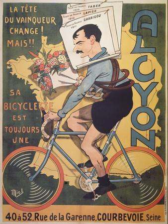 Poster Advertising 'Alcyon' Cycles with the Winners of Tour de France Faber
