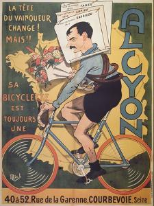 Poster Advertising 'Alcyon' Cycles with the Winners of Tour de France Faber by called Mich Liebeaux Michel