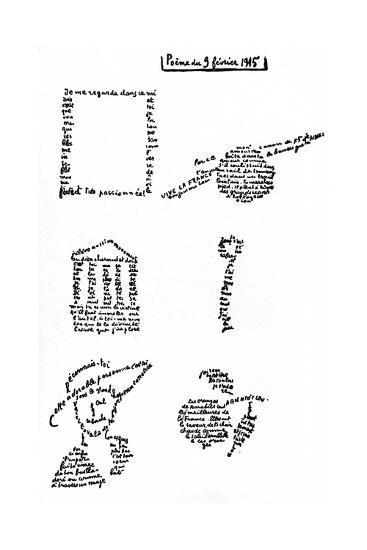 Calligram, Poem by Guillaume Apollinaire (1880-1918) February 9, 1915--Art Print