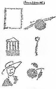 Calligram, Poem by Guillaume Apollinaire (1880-1918) February 9, 1915