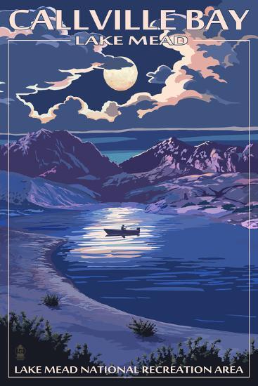 Callville Bay - Lake Mead National Recreation Area - Night Scene-Lantern Press-Art Print