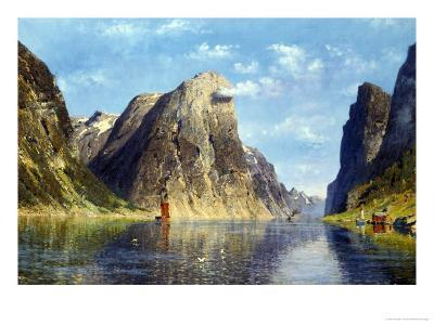 Calm Day on the Fjord, Norway-Adelsteen Normann-Giclee Print