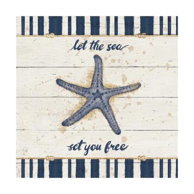 Calm Seas II Gold Rope Border-Janelle Penner-Art Print