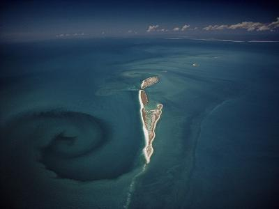 Calm Tidal Swirl Can Be Seen Left of the Lacepede Islands, Australia-David Doubilet-Photographic Print