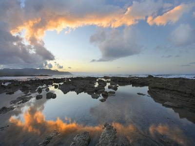 Calm Water Reflects the Sunset Clouds, Playa Santa Teresa, Costa Rica-Tim Fitzharris-Photographic Print