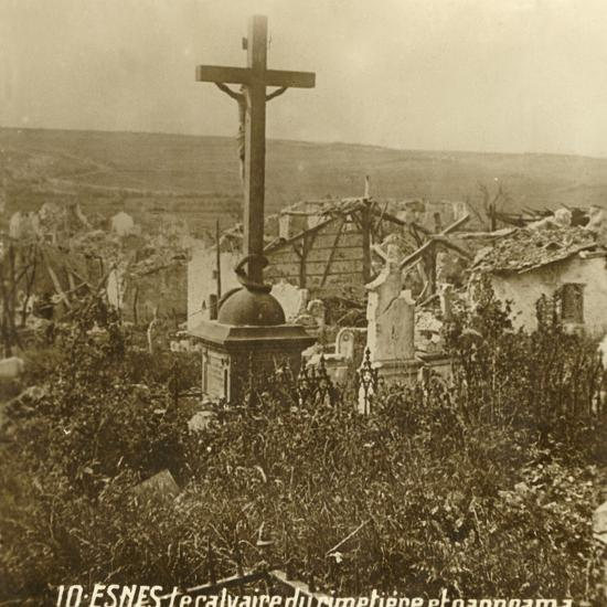 Calvary at the cemetery of Esnes, northern France, c1914-c1918-Unknown-Photographic Print