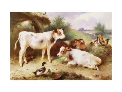 Calves and Poultry by a Byre-Walter Hunt-Giclee Print