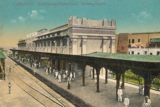 Camaguey. Estacion del Ferro-Carril. Railway Station, Cuba, c1910s-Unknown-Giclee Print