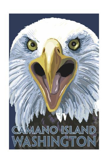 Camano Island, Washington - Eagle Up Close-Lantern Press-Art Print