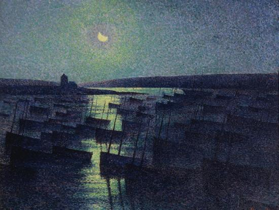 Camaret, Moonlight and Fishing Boats, 1894-Maximilien Luce-Giclee Print