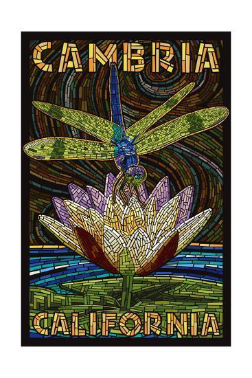 Cambiria, California - Dragonfly - Paper Mosaic-Lantern Press-Art Print