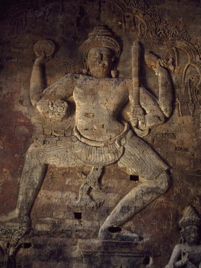 Cambodia, Relief in Prasat Kravan Temple, Angkor--Photographic Print
