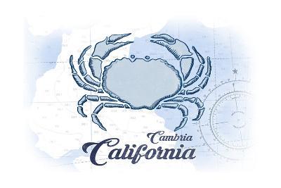 Cambria, California - Crab - Blue - Coastal Icon-Lantern Press-Art Print