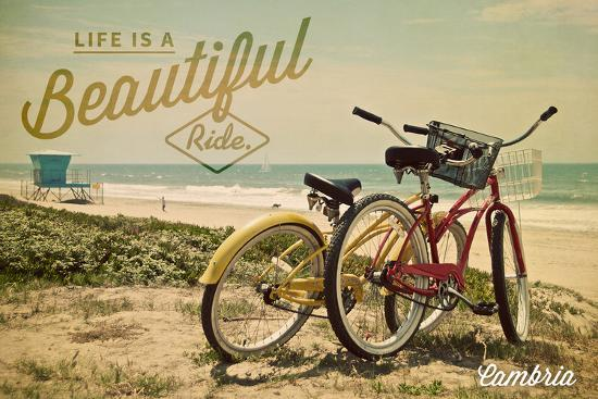 Cambria, California - Life is a Beautiful Ride - Bicycles and Beach Scene-Lantern Press-Wall Mural
