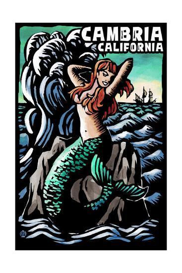 Cambria, California - Mermaid - Scratchboard-Lantern Press-Art Print