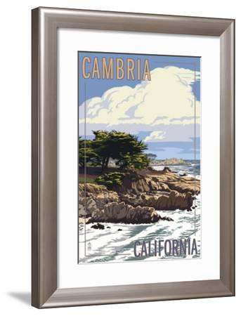 Cambria, California - Rocky Shore-Lantern Press-Framed Art Print