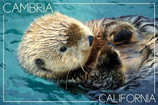 Cambria, California - Sea Otter-Lantern Press-Wall Mural