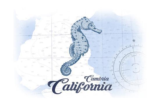Cambria, California - Seahorse - Blue - Coastal Icon-Lantern Press-Art Print