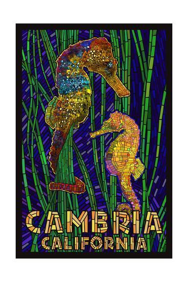 Cambria, California, Seahorses - Paper Mosaic-Lantern Press-Art Print