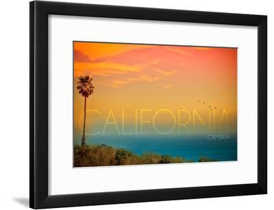 Cambria, California - Sunset and Birds-Lantern Press-Framed Art Print