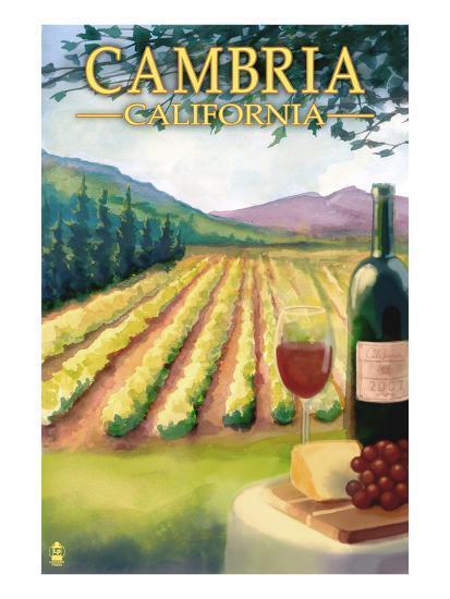 Cambria, California - Wine Country-Lantern Press-Art Print
