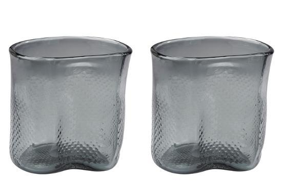 Cambria Short Etched Glass Vase Set Grey Home Accessories By Art