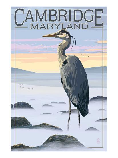Cambridge, Maryland - Blue Heron and Fog-Lantern Press-Art Print