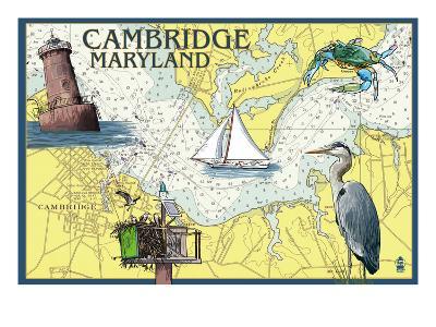 Cambridge, Maryland - Nautical Chart-Lantern Press-Art Print
