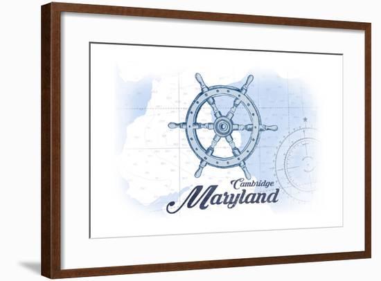Cambridge, Maryland - Ship Wheel - Blue - Coastal Icon-Lantern Press-Framed Art Print